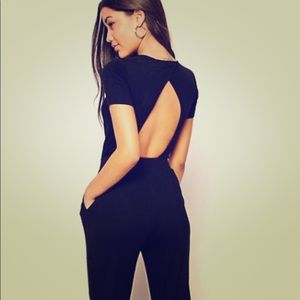 ASOS TALL black open back jersey jumpsuit